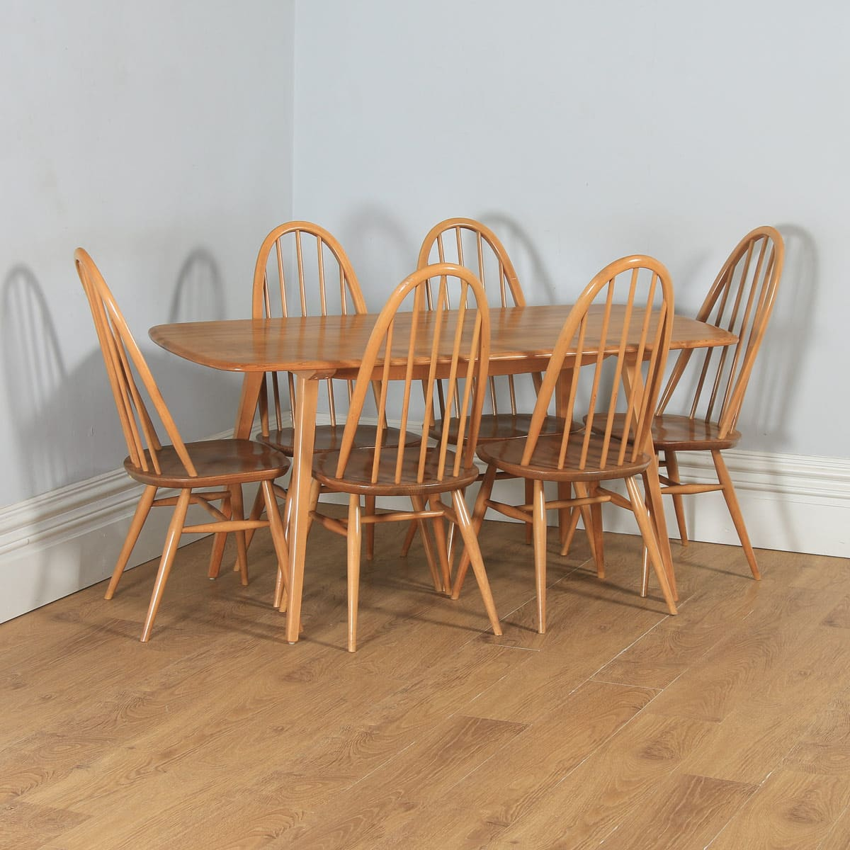 Ercol Dining Suite English Quaker Table Chairs Yola Gray Antiques