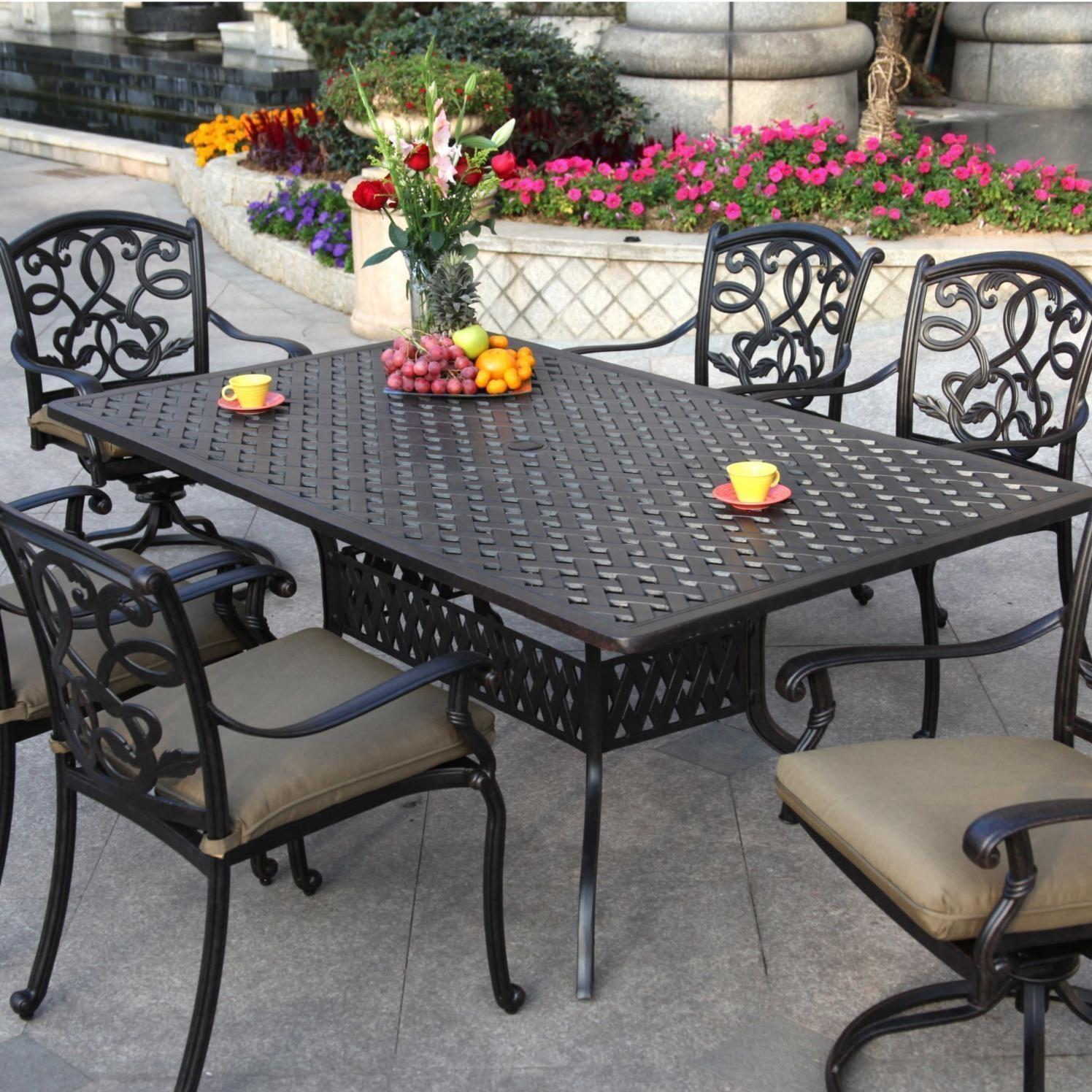 "Patio Furniture Dining Set Cast Aluminum 72"" Rectangular ..."