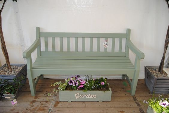 Bench painted with cuprinol garden shades in willow ...