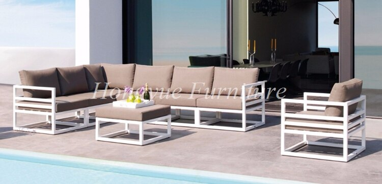 Outdoor patio white aluminum frame sofa set furniture sale ...