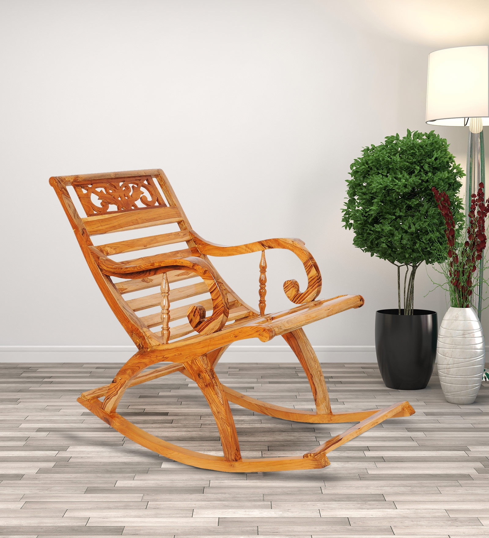 Antique Designed Teakwood Rocking Chair In Natural Finish By Confortofurnishing Buy Online In Aruba Confortofurnishing Products In Aruba See Prices Reviews And Free Delivery Over 120 ƒ Desertcart